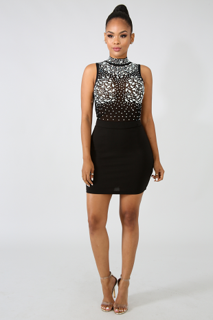 Glamorous Rhinestone Body-Con Dress