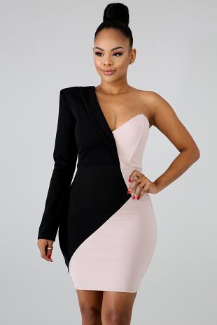 Two Tone Body-Con Dress