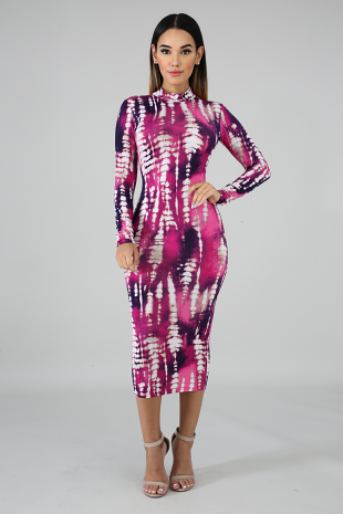 Tie Dye Stripe Midi Dress