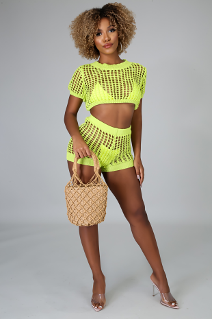 Net Crochet Short Set