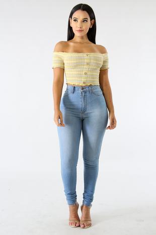 Knit Button Crop Top