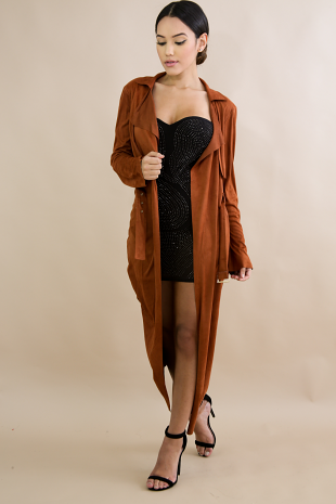 Suede Long Trench Coat