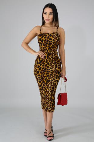 Leopard Suede Midi Dress