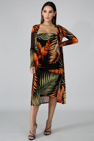 Kimono Autumn Body-Con Dress