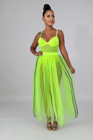 Neon Glow Tulle Maxi Skirt