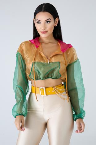 Color Sheer Crop Jacket