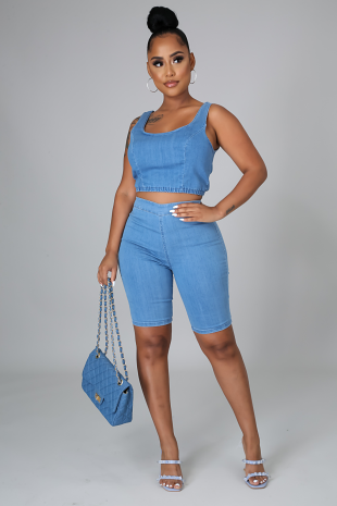 Set It Up Denim Short Set