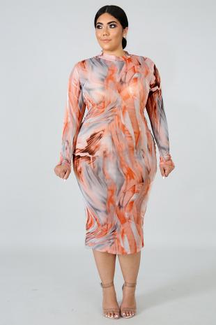 Sheer Peachy Body-Con Dress