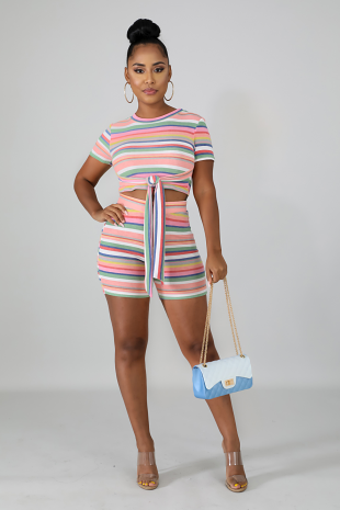 Dipped in Stripes Short Set