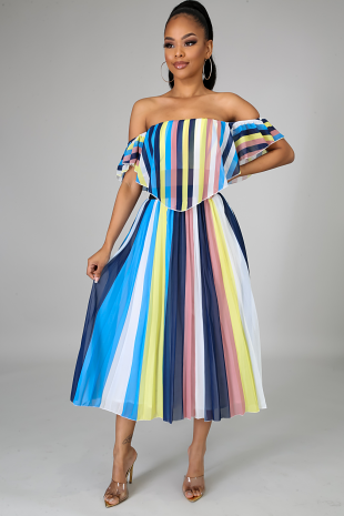 Pleated Stripe Skirt Set