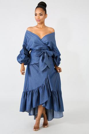 Chambray Maxi Skirt Set