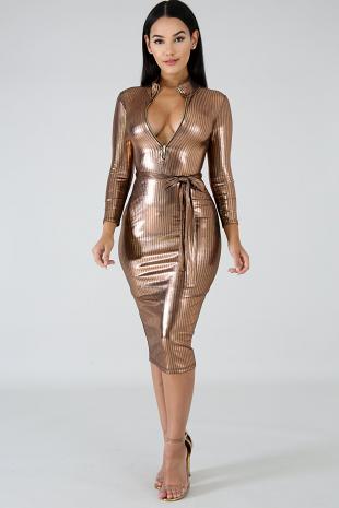 Golden Gal Midi Dress