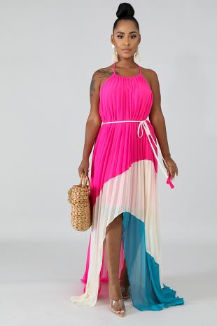 Playful Pleated Maxi Dress