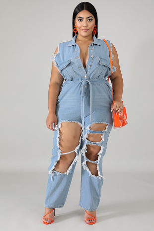 Denim Ripped Jumpsuit