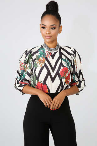 Chevron Floral Sheer Top