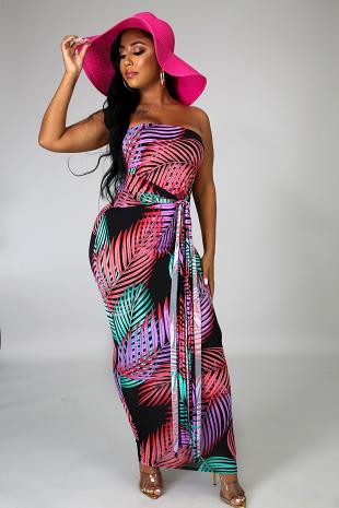 Palms Tie Midi Dress