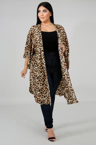 Cheetah Slit Kimono