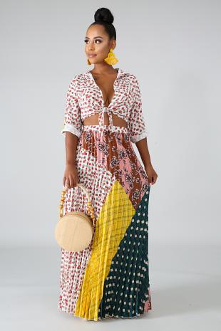 Blossom Drops Kimono Skirt Set