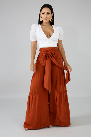 Accordion Wrap Palazzo Pants