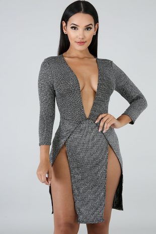 Glitter Slit Body-Con Dress