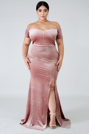 Suede Glitter Scales Maxi Dress