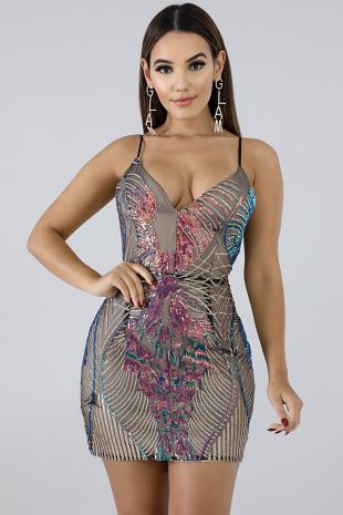 Sequin Glam Mini Dress