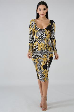 Royalty Maze Body-Con Dress