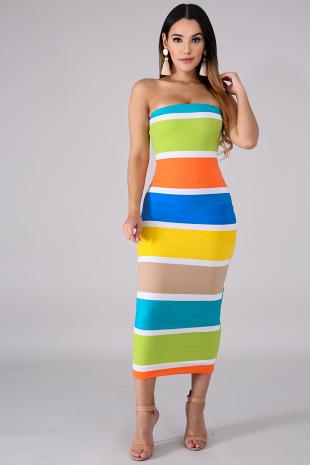 Tube Color Block Dress