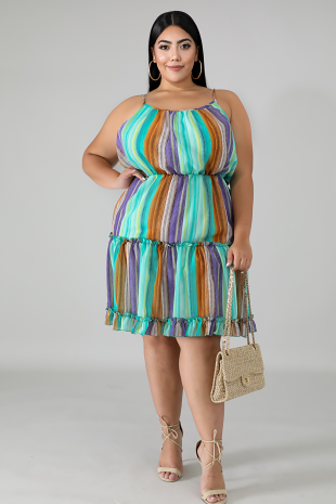 Ruched Stripe Flare Dress