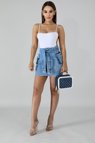 Hugging Mini Denim Skirt
