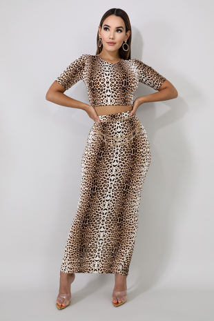 Leopard Skirt Set