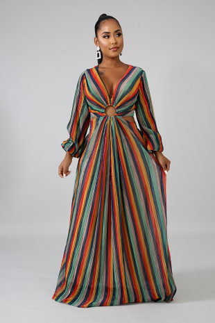 Pleated Color Shine Dress