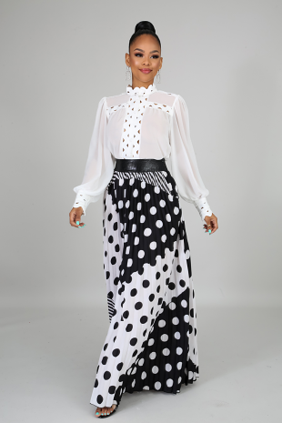 Pleated Polka Skirt