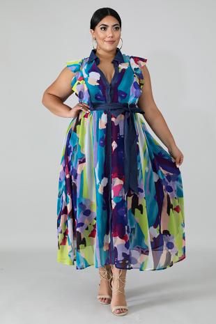 Paint Drops Maxi Dress