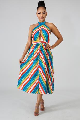 Chevron Color Maxi Dress