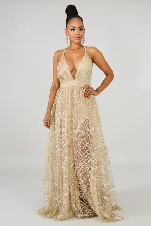 Sequin Glitter Maxi Dress