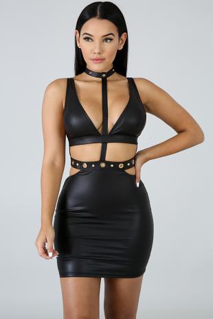 Choker Leatherette Body-Con Dress