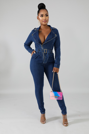 Take Me Away Denim Jumpsuit