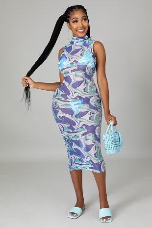 Abstract Wave Babe Dress