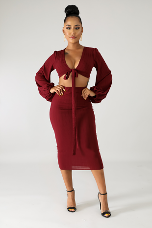 Ribbed Knit Skirt Set