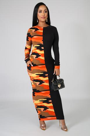 Fire Camo Midi Dress