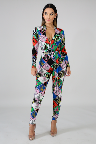 Floral Long Sleeve Jumpsuit