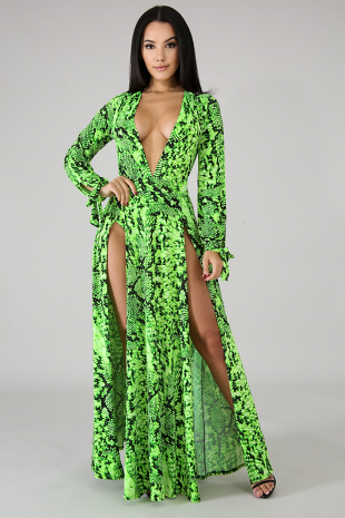 Reptilian Slit Maxi Dress
