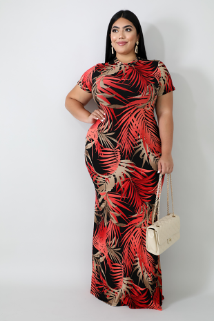 Fire Palms Mermaid Dress