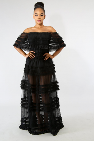 Tulle Sheer Maxi Dress