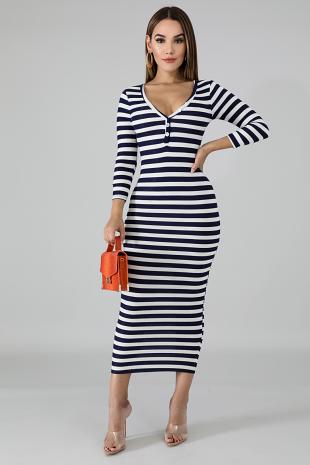 Classic Knit Stripe Dress