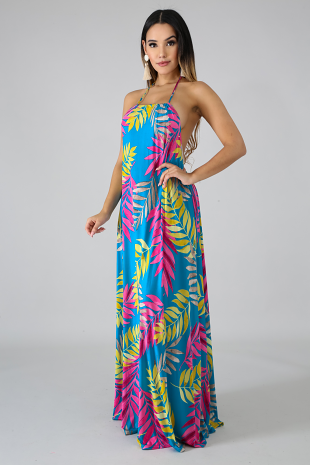 Exotic Leaves Maxi Dress