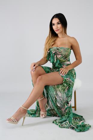Sheer Palms Maxi Dress