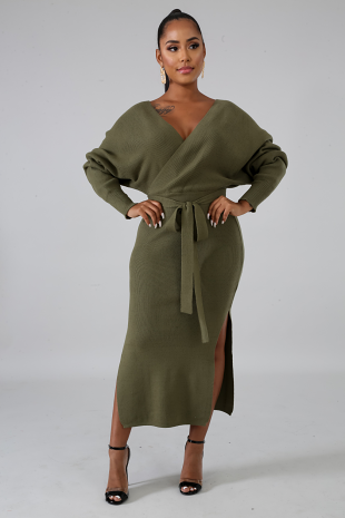 Slit Sweater Dress