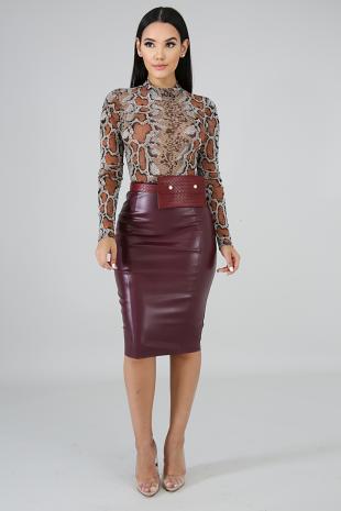Leatherette Slit Skirt
